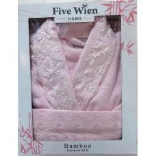 Набор Angelina халат бамбук и 2 полотенца розовый