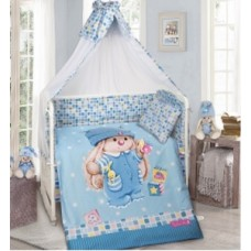 Комплект в кроватку 8 Предметов с бортами и балдахином, Зайка с кубиками
