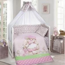 Комплект в кроватку 8 предметов, с бортами и балдахином ,Зайка на полянке