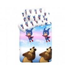 """Постельное белье бязь """"Маша и Медведь"""" рис. 8700+8701 вид 1 Маша супергерой"""