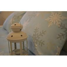 Постельное бельё Снежинка голубая Фланель  100% хлопок
