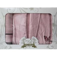 Набор Diabella в ассортименте 3-х пр. (халат,полотенце 50*90,70*140) розовый