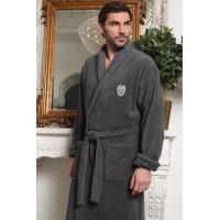 Классический мужской халат из микрокоттона Luxor с вышивкой