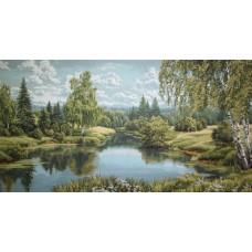 Пейзаж с березой 140х70
