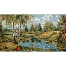 Пейзаж с утками 140х70