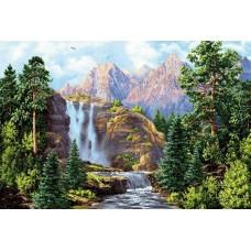 Водопад у гор 70х50