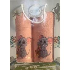 Набор полотенец EFOR TEKSTIL (DIABELLA) из 2-х предметов (50*90; 70*140) мод Мышка с саксофоном