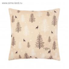 Наволочка декоративная  Лес 40х40 см, рогожка
