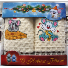 """Набор """"Мышки"""" из двух вафельных полотенец 34х75(2 шт)"""